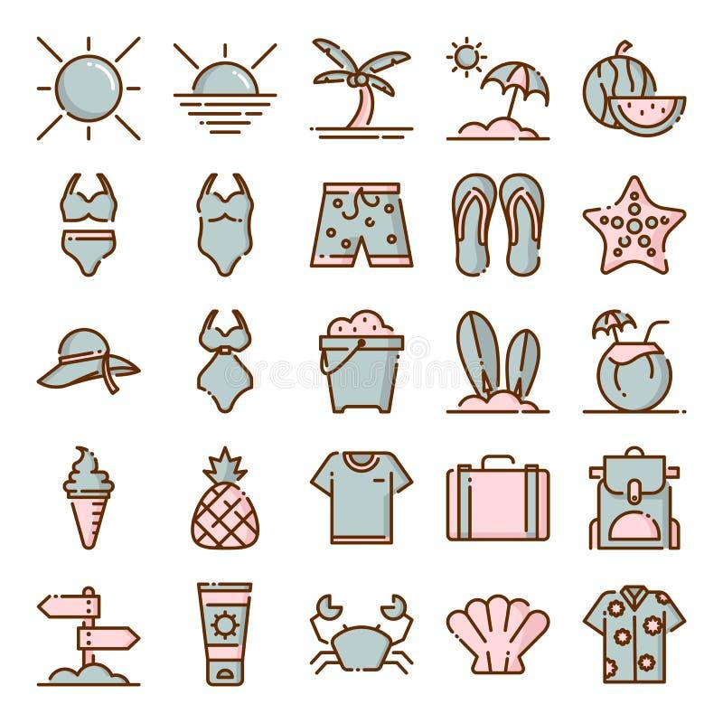 Pacchetto delle icone di estate fotografie stock libere da diritti