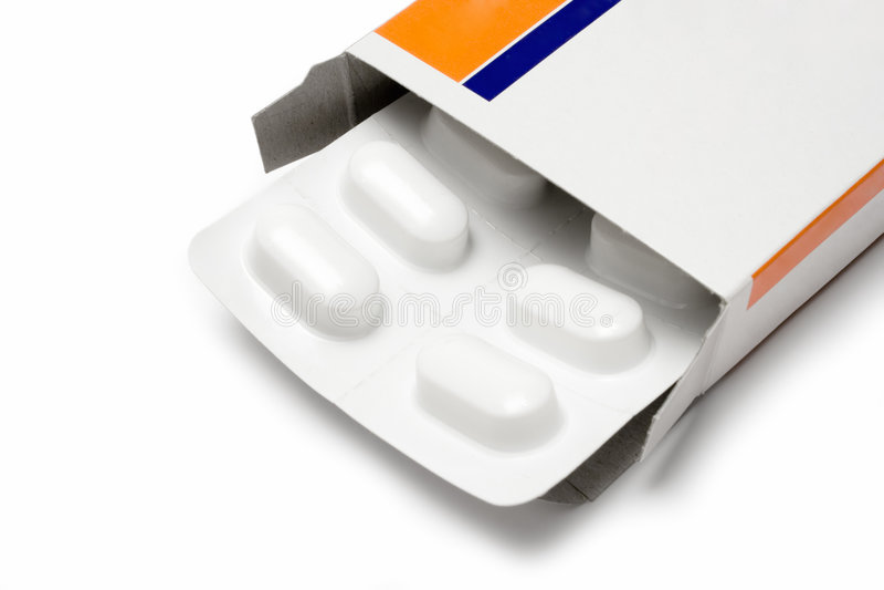 Pacchetto delle pillole (vista vicina) fotografia stock