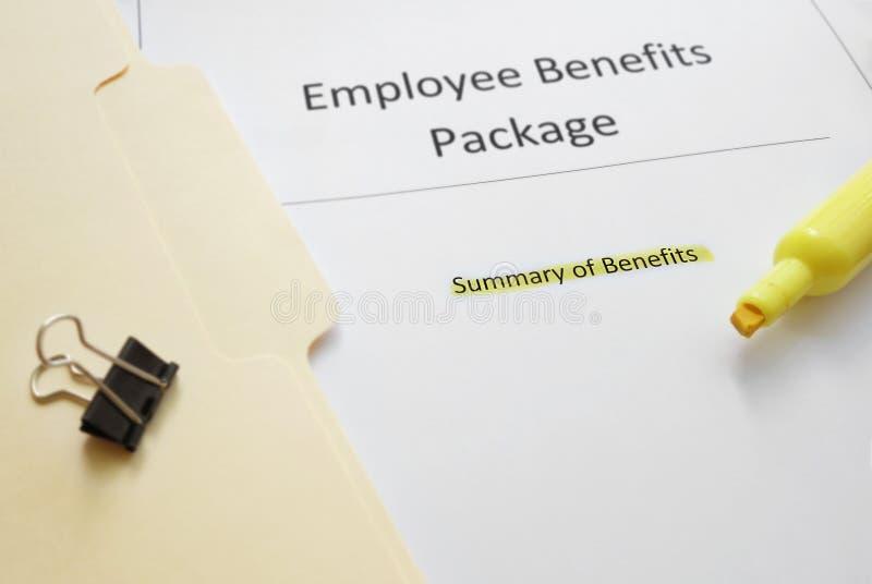 Pacchetto di benefici degli impiegati immagini stock libere da diritti