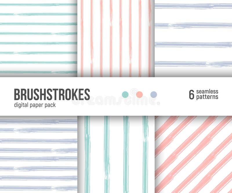 Pacchetto di carta di Digital, 6 modelli astratti Ambiti di provenienza strutturati disegnati a mano di pennellate, modelli a str illustrazione di stock