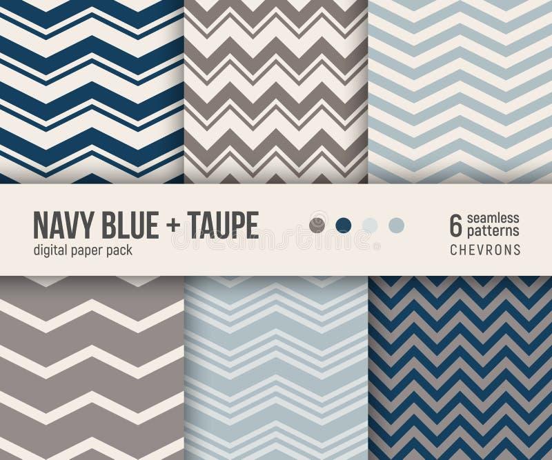 Pacchetto di carta di Digital, 6 modelli classici del gallone nei blu navy e taupe illustrazione vettoriale