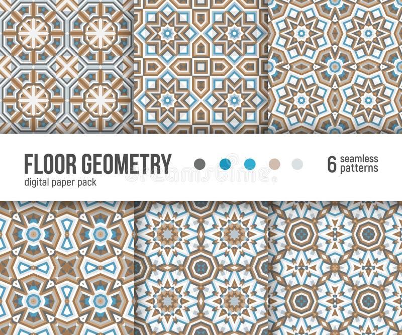 Pacchetto di carta di Digital, 6 modelli portoghesi delle piastrelle per pavimento illustrazione di stock
