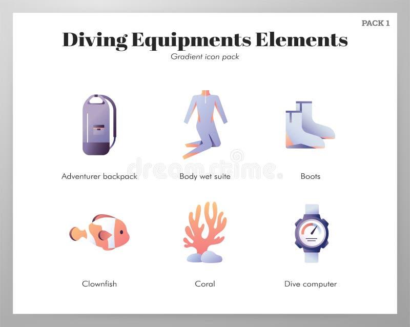 Pacchetto di pendenza delle icone delle attrezzature per l'immersione illustrazione vettoriale