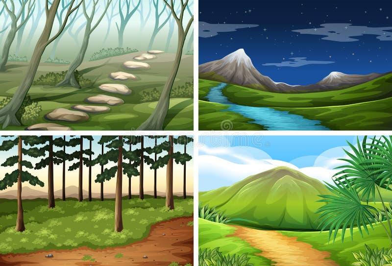 Pacchetto di scena del paesaggio della natura illustrazione di stock