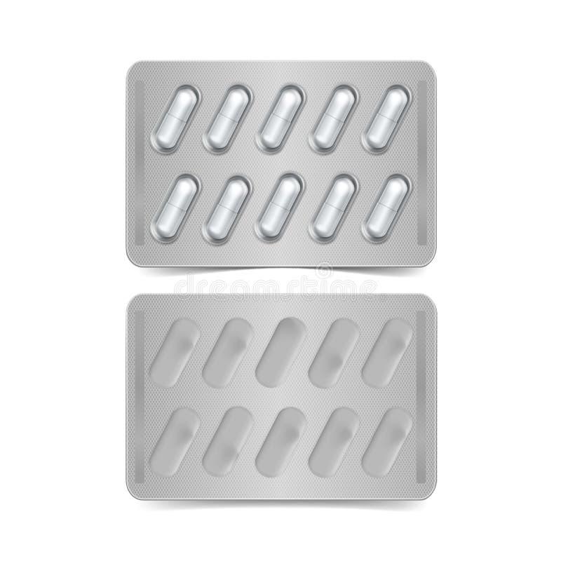 Pacchetto di vettore delle capsule isolate su bianco royalty illustrazione gratis