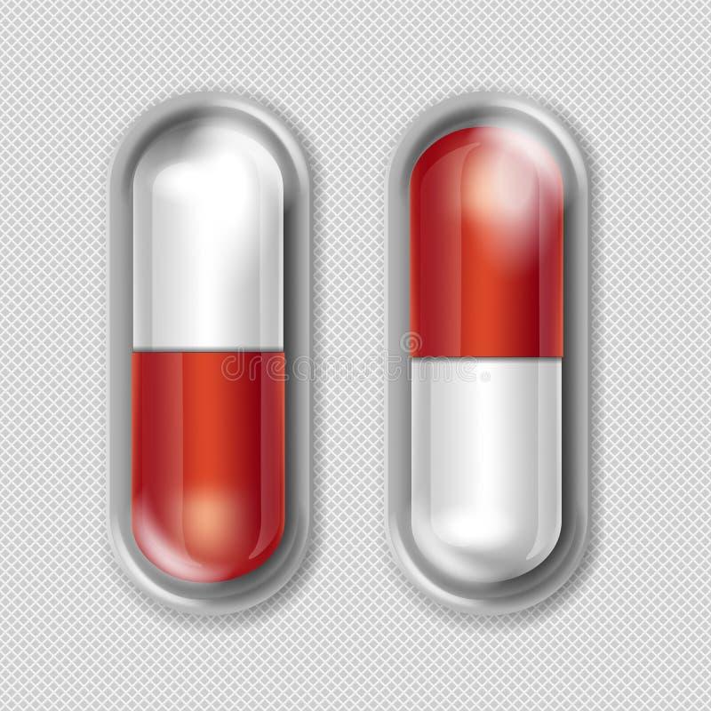 Pacchetto di vettore delle capsule rosse e bianche royalty illustrazione gratis