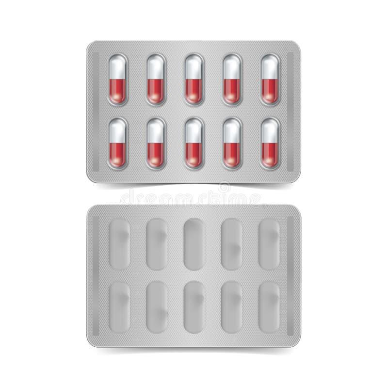 Pacchetto di vettore delle capsule rosse e bianche isolate illustrazione di stock
