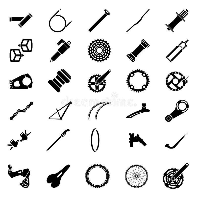 Pacchetto fresco delle icone della parte della bicicletta Icona della componente della bicicletta Mountai illustrazione di stock