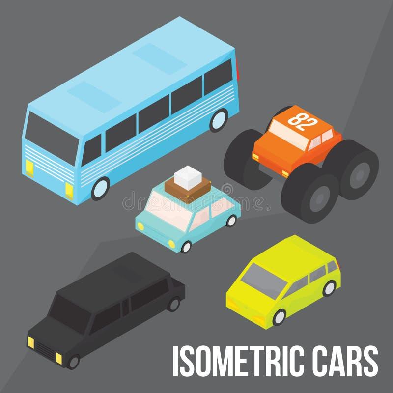 Pacchetto isometrico degli oggetti di vettore del trasporto della città illustrazione di stock