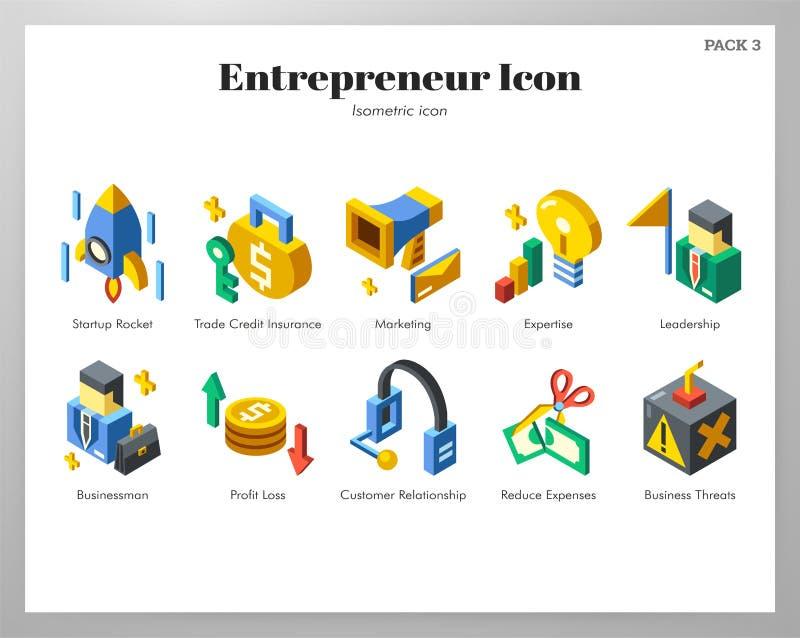 Pacchetto isometrico delle icone dell'imprenditore illustrazione vettoriale