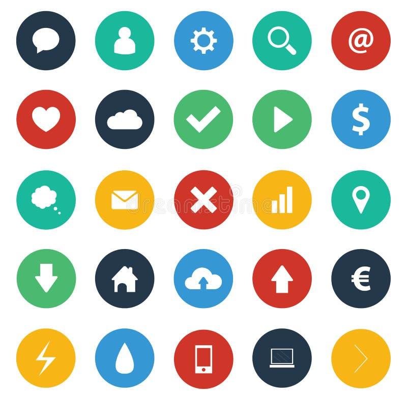 Pacchetto piano delle icone di progettazione illustrazione di stock