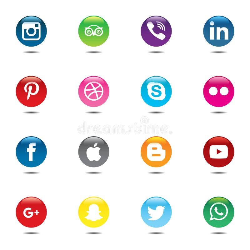 Pacchetto sociale di media Bella progettazione del cerchio di colore per il sito Web, modello, insegna illustrazione di stock
