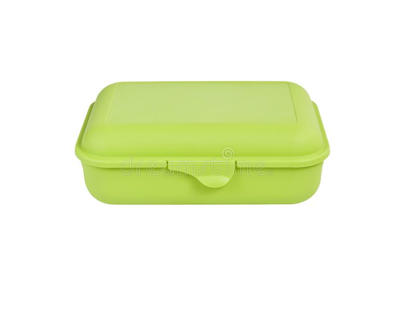 Pacchetto verde della scatola di plastica isolato su uso bianco del fondo per la m. immagine stock