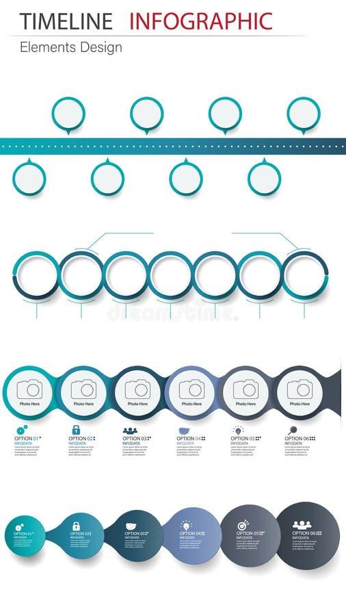 Pacco astratto di cronologia di infographics dell'elemento di vettore Progettazione per illustrazione di stock