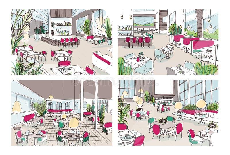 Interno dei bistrot o del ristorante con l 39 arredamento for Arredamento moderno colorato