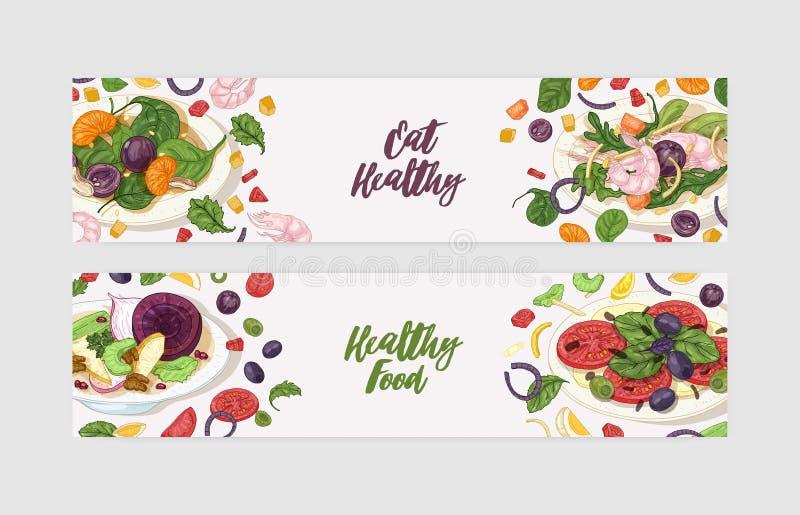 Pacco dei modelli dell'insegna di web con le insalate deliziose sui piatti e sugli ingredienti Pasti dietetici sani freschi Sano illustrazione vettoriale
