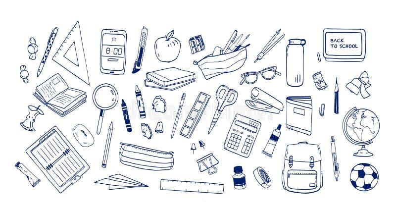 Pacco dei rifornimenti o della cancelleria di scuola disegnati a mano con le linee di contorno su fondo bianco Metta dei disegni  royalty illustrazione gratis