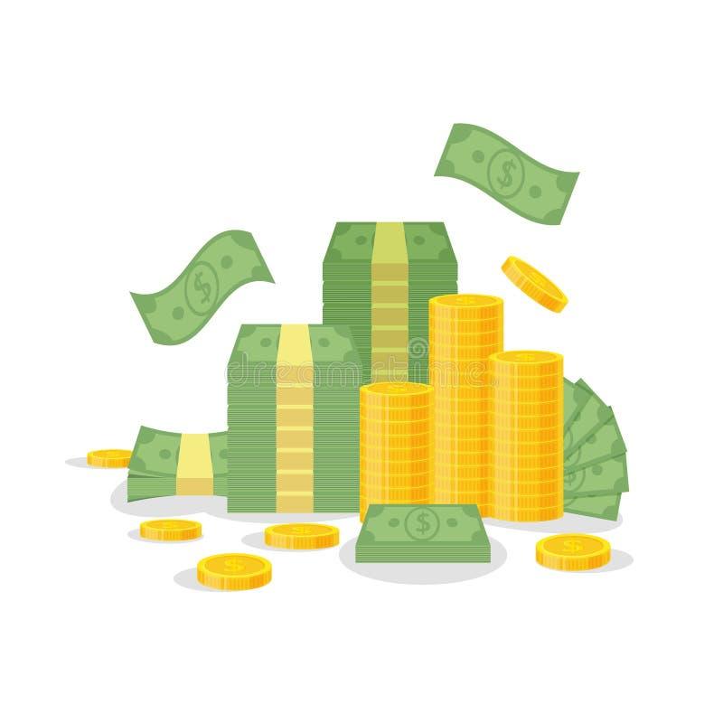 Pacco dei soldi e pila della moneta isolata su fondo bianco Le banconote verdi del dollaro, fatture volano, monete di oro - vetto royalty illustrazione gratis