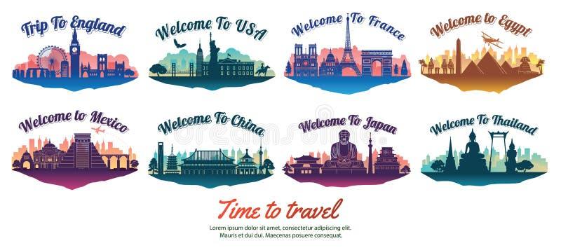 Pacco del punto di riferimento famoso del mondo con stile della siluetta sull'isola, sul viaggio e sul turismo del galleggiante royalty illustrazione gratis