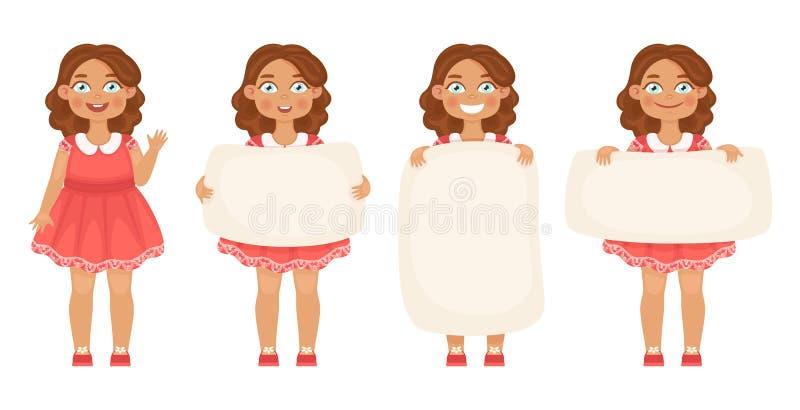 Pacco delle bambine sveglie che tengono le varie insegne verticali ed orizzontali su un fondo bianco per il vostro testo royalty illustrazione gratis