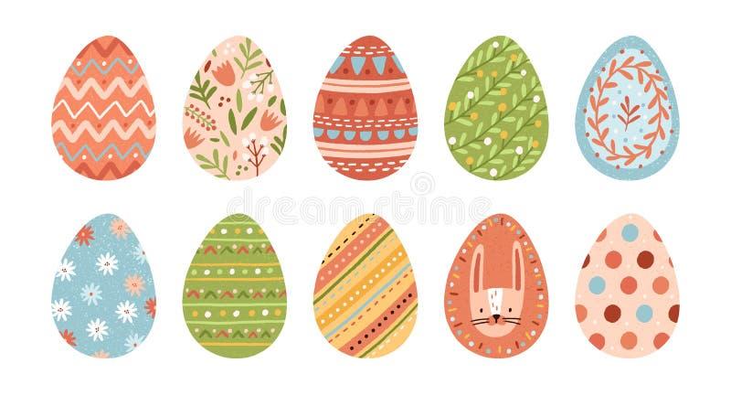 Pacco delle uova di Pasqua decorate isolate su fondo bianco Metta dei simboli pasquali coperti di vari ornamenti - royalty illustrazione gratis