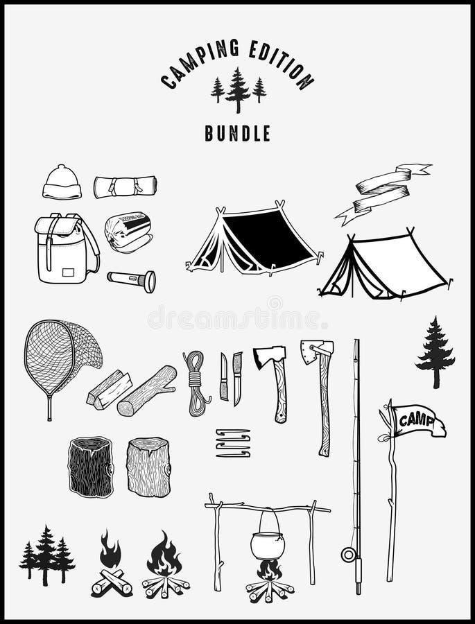 Pacco di campeggio dell'edizione fotografie stock