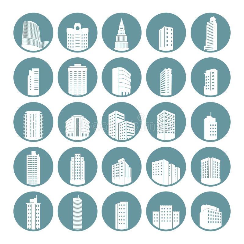 Pacco moderno semplice dell'insieme dell'icona del cerchio della costruzione della città illustrazione di stock