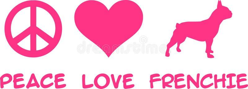 Pace, amore, bulldog francese royalty illustrazione gratis
