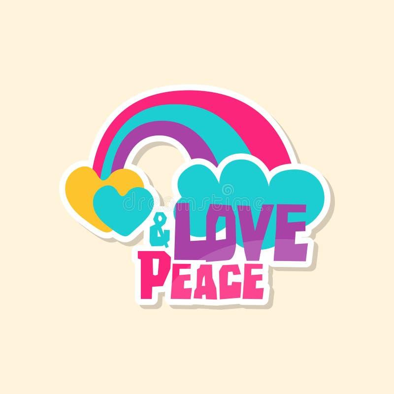 Pace creativa di amore del testo con l'arcobaleno e la nuvola, autoadesivo sveglio nei colori luminosi, illustrazione di vettore  royalty illustrazione gratis