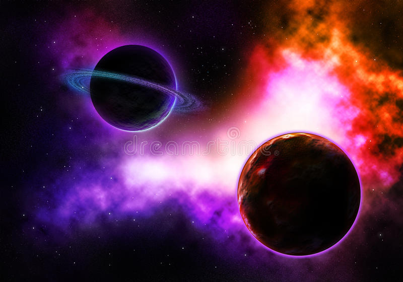 Pace Planet With A Flaming Colorful Nebula Royalty Free Stock Images