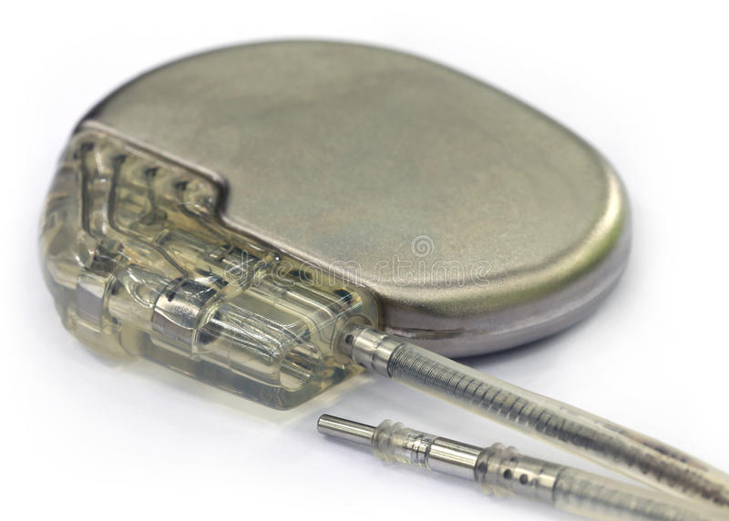 Pacemaker. Close up image of pacemaker over white background royalty free stock photography