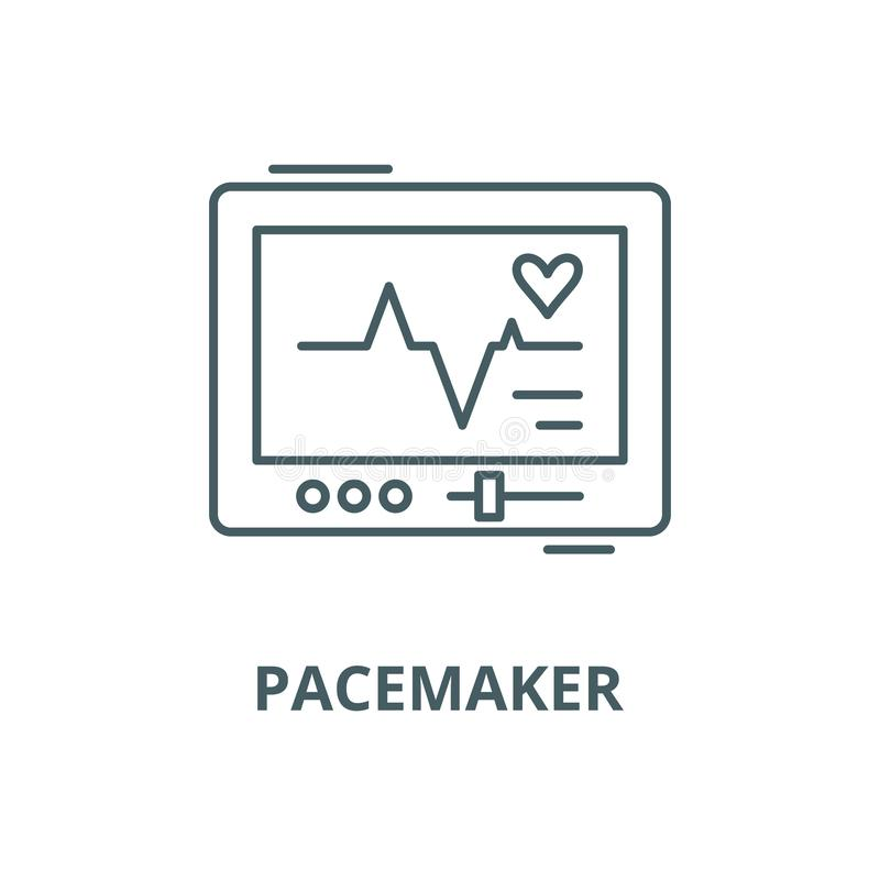 Pacemaker vector line icon, linear concept, outline sign, symbol. Pacemaker vector line icon, outline concept, linear sign royalty free illustration
