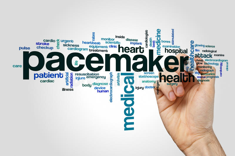 Pacemaker word cloud. Concept on grey background royalty free stock photography