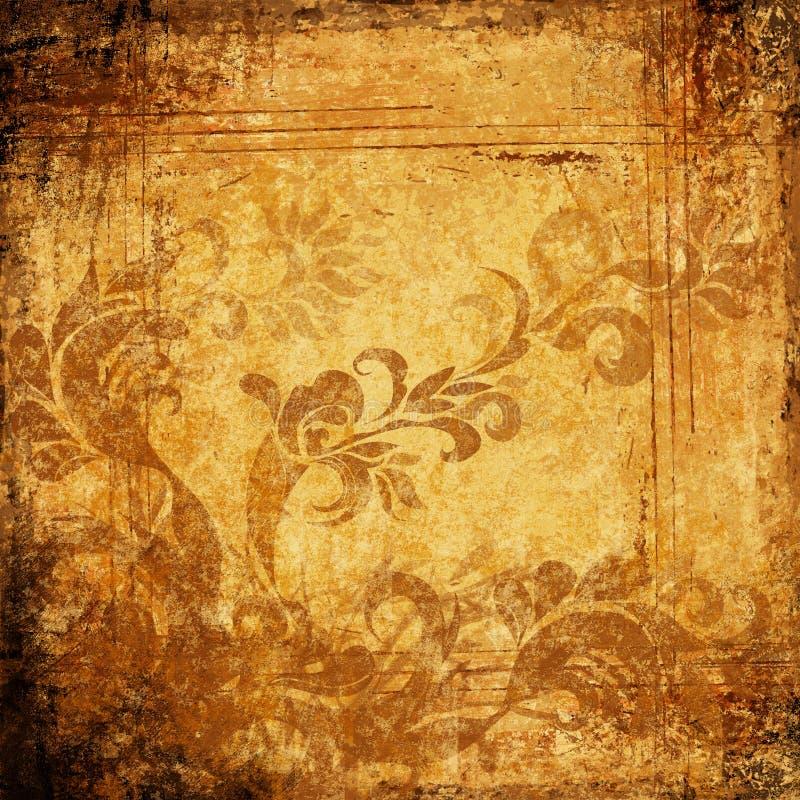 Pachment grungy antico con gli ornamenti illustrazione vettoriale