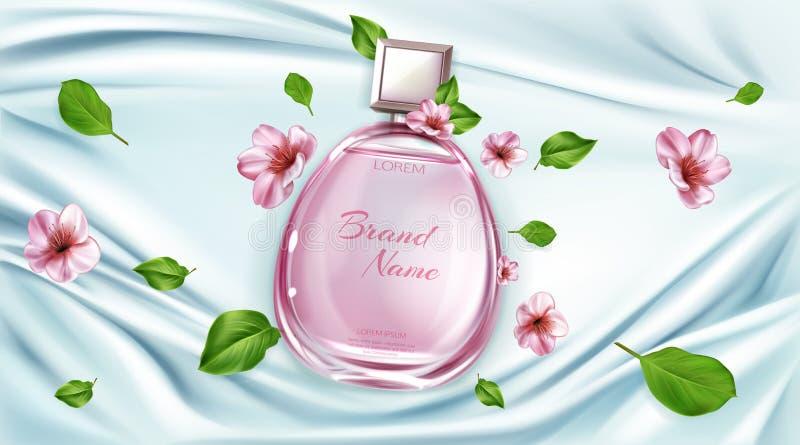 Pachnidło butelka z Sakura kwitnie reklamy tło ilustracja wektor