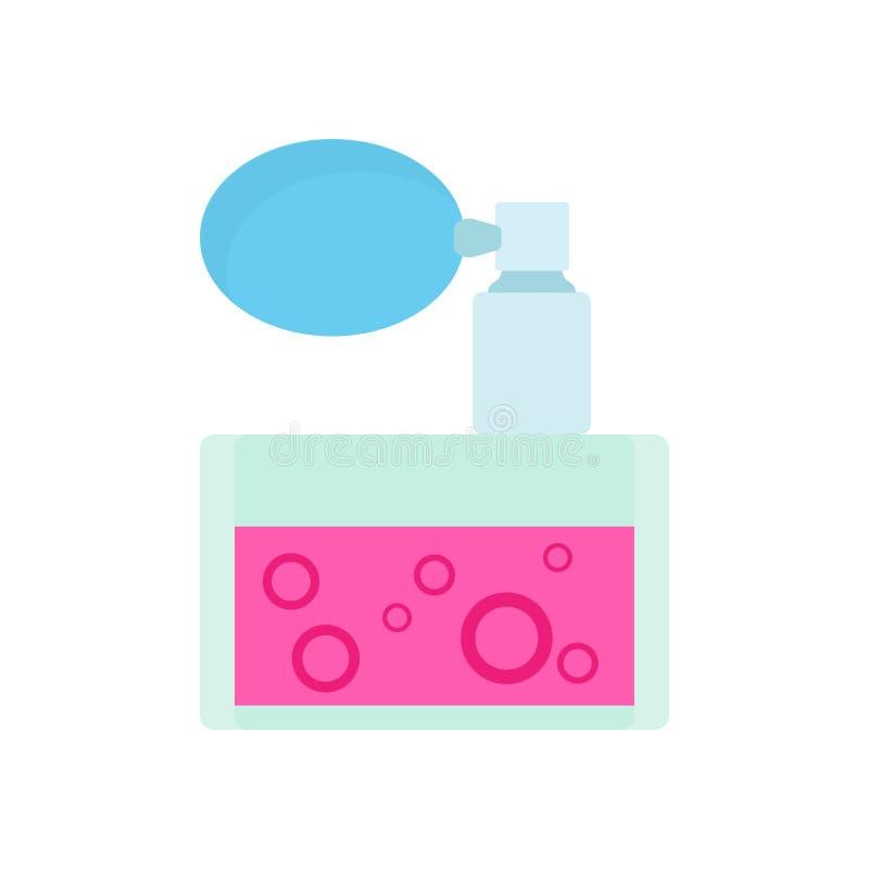 Pachnidło butelki opieki woni ciekłego zbiornika zapachu kosmetyczna woda Kobiecy płaski wektorowy szklany aromat ikony perfumowa ilustracji