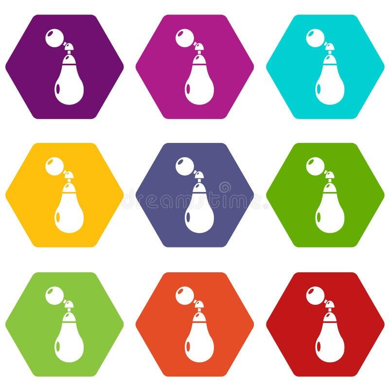 Pachnidło butelki Paris ikony ustawiają 9 wektor royalty ilustracja