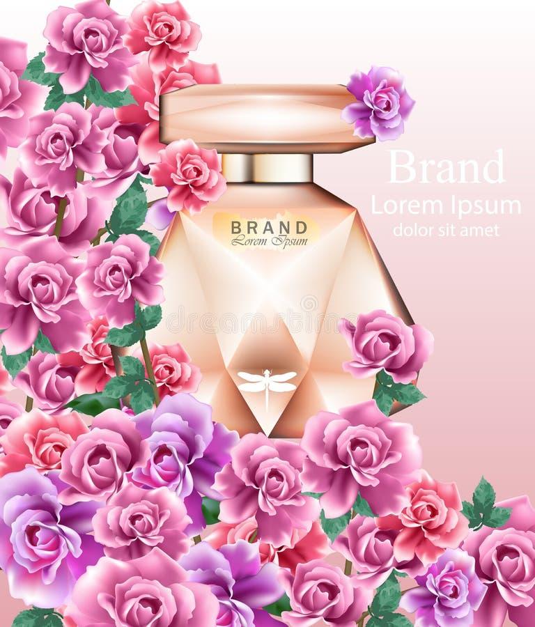 Pachnidło butelki róż delikatna woń Realistyczny Wektorowy produkt pakuje projekta egzamin próbnego up Piękni kwieciści tła royalty ilustracja
