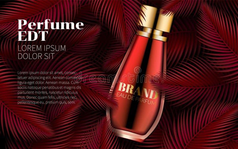 Pachnidło butelki szablonu liścia projekta sztuki Słodki Czerwony abstrakt Znakomity kosmetyków Reklamować Kosmetyczny pakunku pr royalty ilustracja