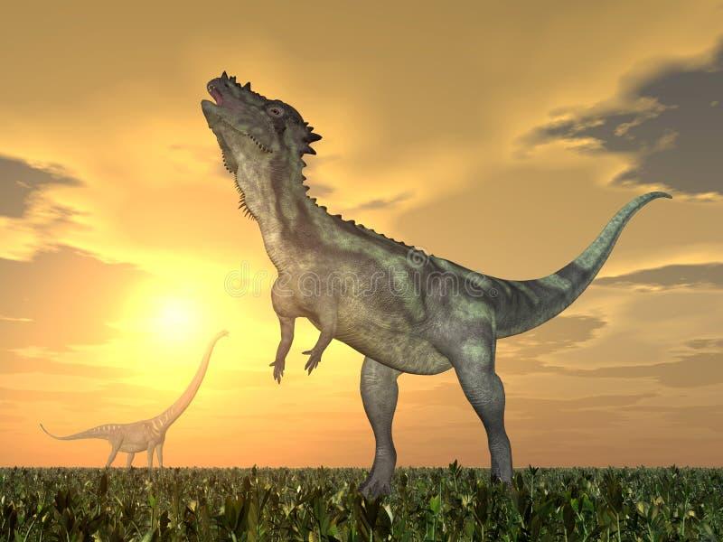 Pachycephalosaurus e Mamenchisaurus ilustração do vetor