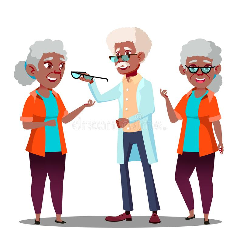 Paciente afroamericano negro de la mujer mayor del doctor Giving Glasses To del oculista con vector del problema de Vision Histor libre illustration