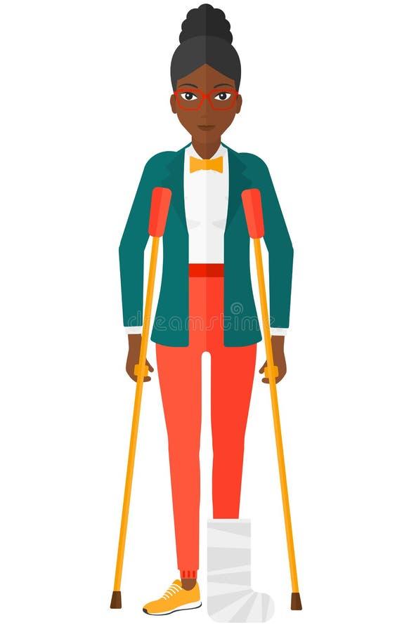 Paciente com pé quebrado ilustração royalty free