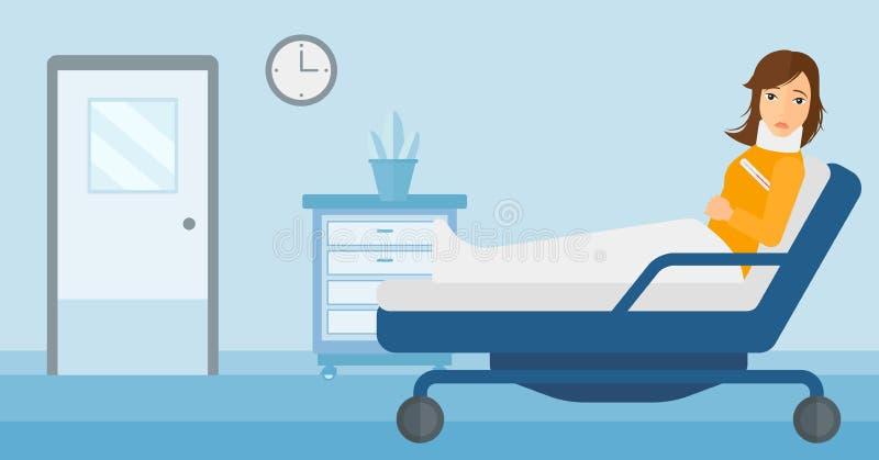 Paciente com pescoço ferido ilustração royalty free
