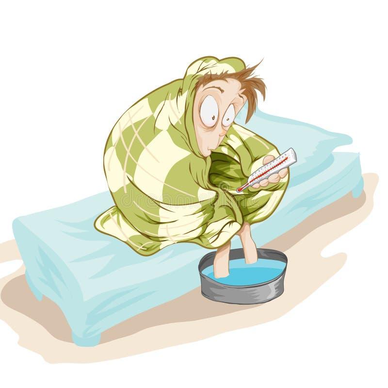 Paciente con una temperatura stock de ilustración
