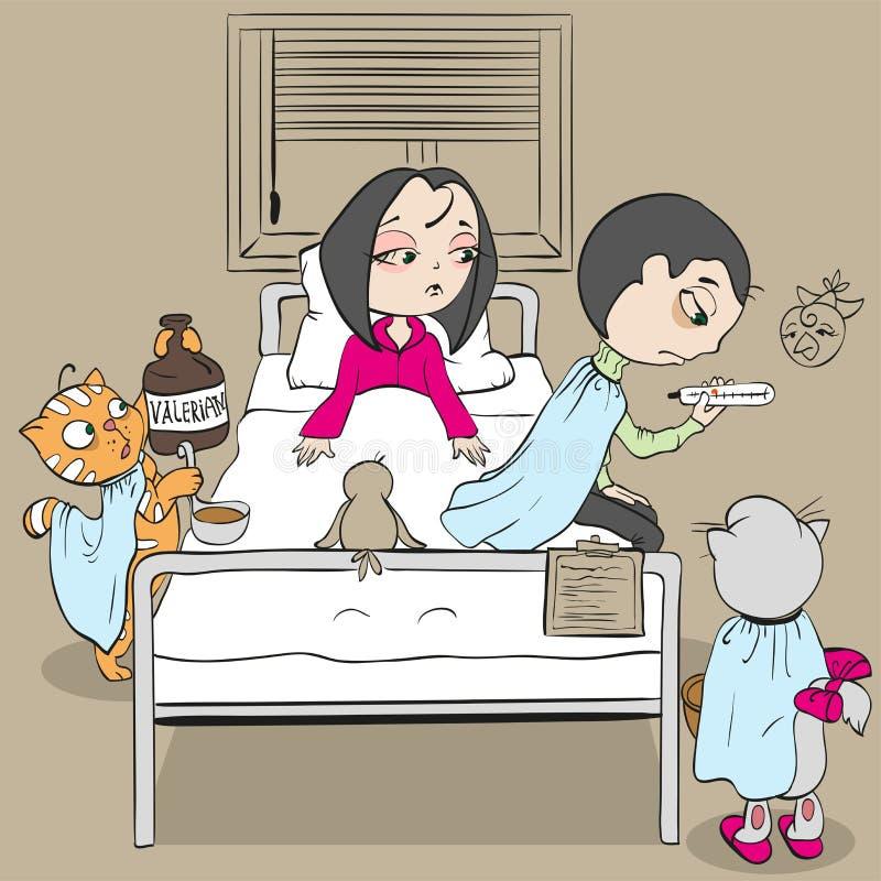 Paciente da mulher na cama e doutor O médico do gato dá a valeriana ilustração do vetor