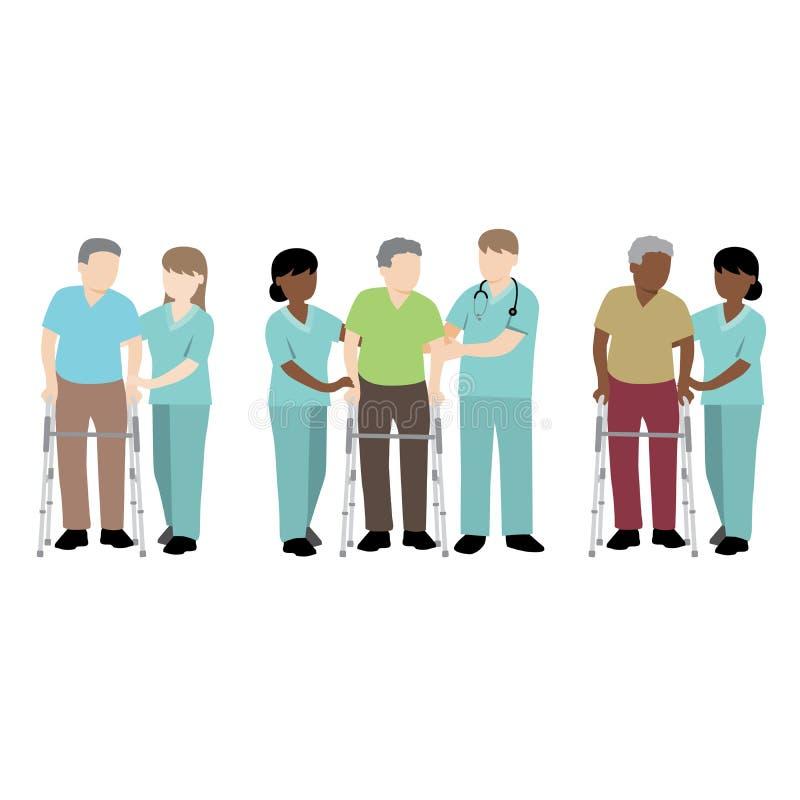 Paciente de ayuda de la enfermera con un caminante libre illustration