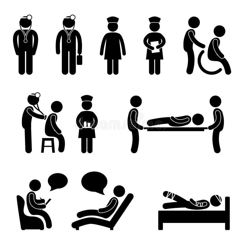 Paciente do doutor Nutrição Hospital Médico Psiquiatra ilustração royalty free