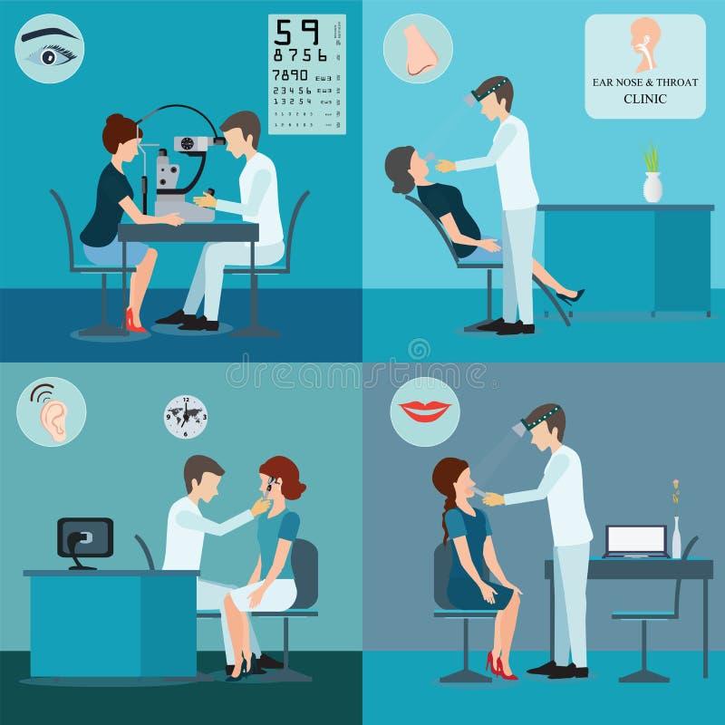 Paciente e doutor Set ilustração do vetor