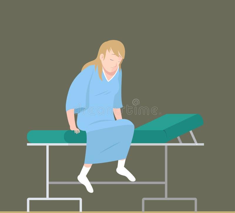 Paciente fêmea na cama do exame ilustração stock