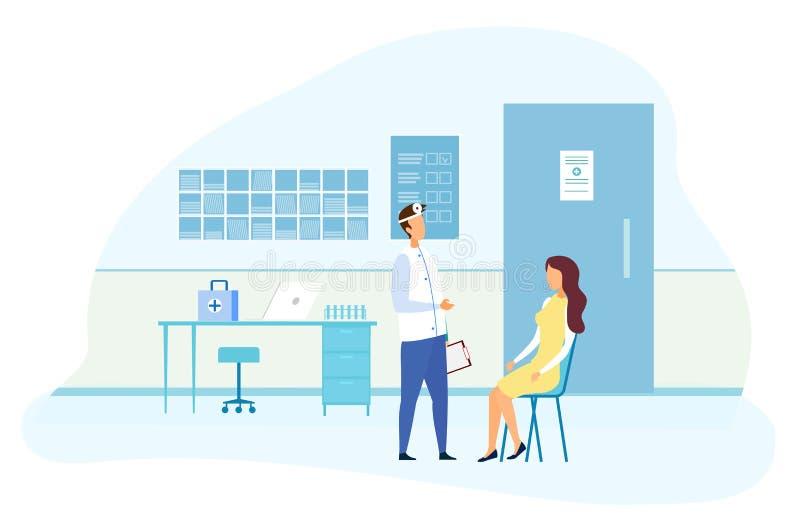 Paciente femenino en el especialista ENT Consultation stock de ilustración